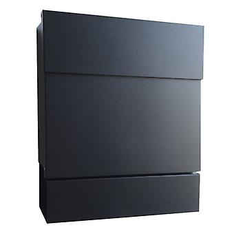 Letterman 5 RADIUS design mailbox with newspaper box black (RAL 9005), hidden Castle, modern wall mailbox