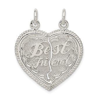 925 sterling sølv solid poleret reversibel bedste ven 2-delt Break Apart hjerte charme