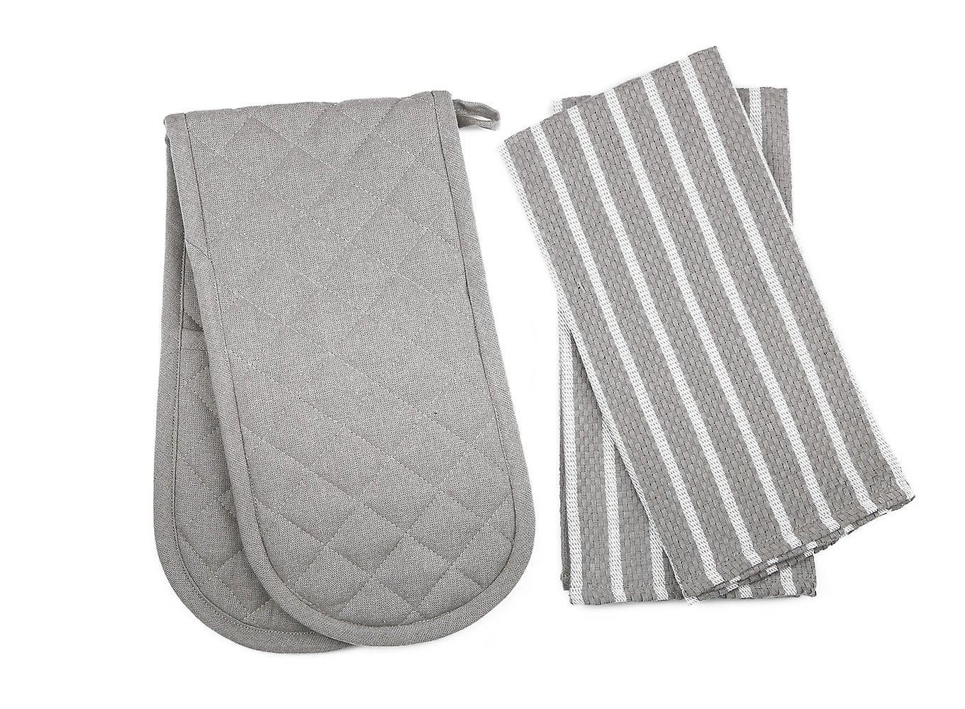 Penguin Home Oven Glove & Tea Towel Set - 100 % Cotton 3 Piece Set