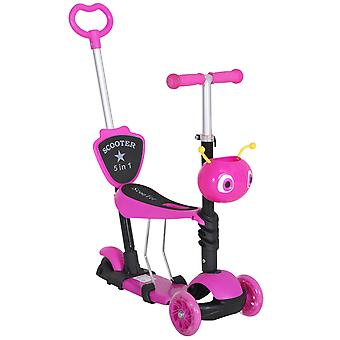 HOMCOM 5-in-1 Kids Toddler 3 Wheels Mini Kick Scooter Push Walker with Removable Seat & Back Rest for Girls and Boys Pink
