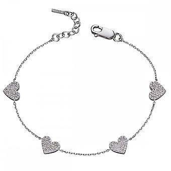 Fiorelli Silver Heart Silver And Zirconia Pave Stationary Bracelet B5102C