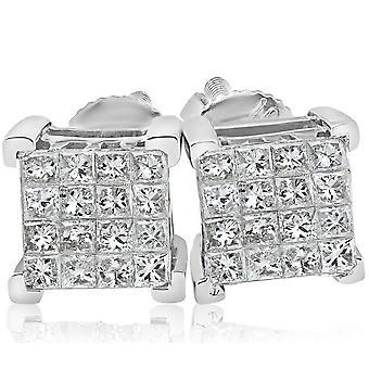 1/2ct diamant prinsesse cut skrue tilbake Studs kvinner øredobber 10k hvitt gull 6.5 mm
