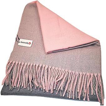 Fine Blocks Pink/Grey Scarf by Butterfly Fashion London