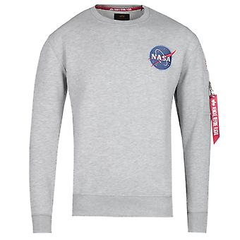 Alpha Industries klassisk gråmelerad Sweatshirt