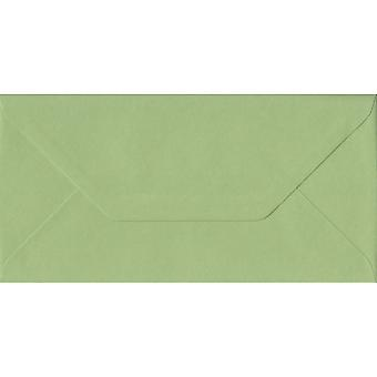 Heritage Green Gummed DL Coloured Green Envelopes. 100gsm FSC Sustainable Paper. 110mm x 220mm. Banker Style Envelope.