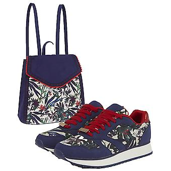 Ruby Shoo Women's Sage Floral Suzie Trainers & Matching Basseterre Backpack UK 2