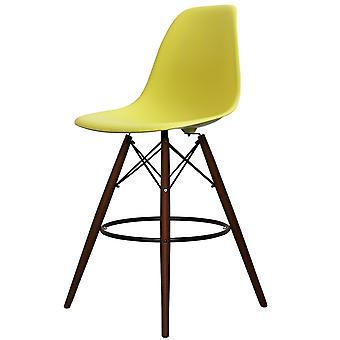 Charles Eames Style Lime Green Plastic Bar Stool - Walnut Legs