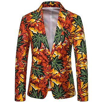 YANGFAN Mens Fashion  Floral Print Suit Jacket Casual Blazer