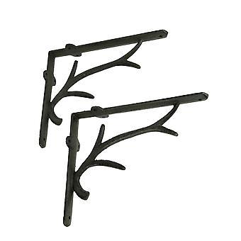 Marrón cast hierro ciervo cornamenta pared estante soportes conjunto de 2