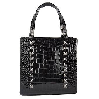 Ash SALLIE Shopping Bag Black Croc Embossed Leather
