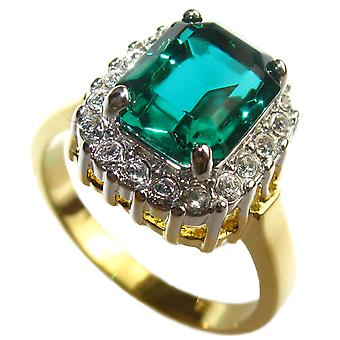 Ah! Bijoux Gold Electroplated 10.8mm Simulated Diamond Emerald Ring
