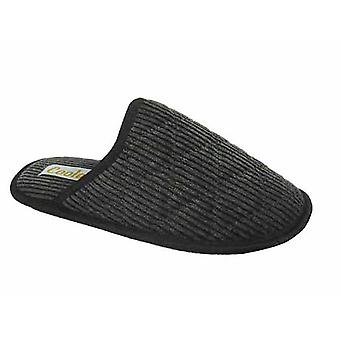 Coolers Mens Quilted Cord Fabric Lined Bound Mule Slippers