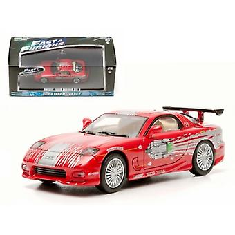 Dom-apos;s 1993 Mazda RX-7 Red 'The Fast and The Furious' Movie (2001) 1/43 Diecast Car Model par Greenlight