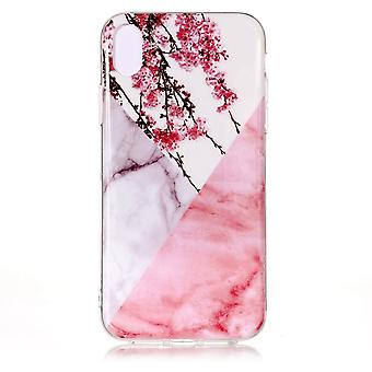 For iPhone XS MAX Case,Marble Pattern Shock Proof Protective Cover,Plum Blossom