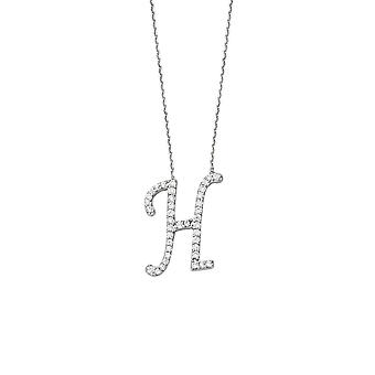 925 Sterling Silver Cubic Zirconia Initial H Adjustable 16 18 Inch Necklace 18 Inch Jewelry Gifts for Women