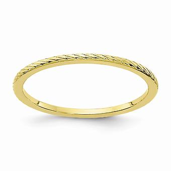 10ky 1.2mm Twisted Wire Pattern Stackable Band Ring Jewelry Gifts for Women - Ring Size: 4 to 10