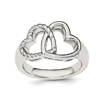 925 Sterling Silver Rhodium plated Love Hearts Ring Jewelry Gifts for Women - Ring Size: 6 to 8