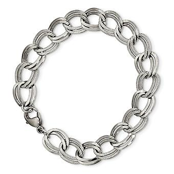 11.44mm Stainless Steel Polished and Textured Link Bracelet  8 Inch Jewelry Gifts for Women