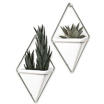 Umbra Set Of 2 Trigg Wall Vessels White & Nickel