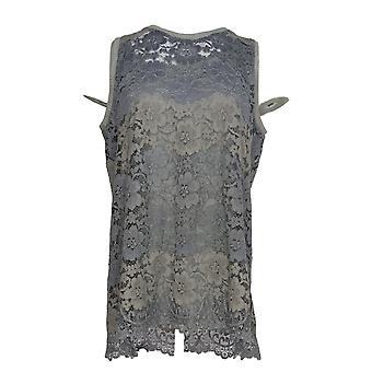 LOGO van Lori Goldstein Women's Top Lace Tank & Solid Tank Gray A301296