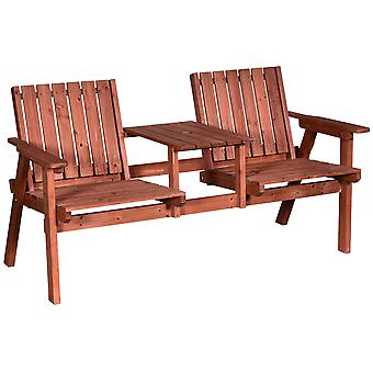 Outsunny Fir Wood 2 Seat Bench w/ Table Parasol Hole Outdoor Garden Chair Slatted Furniture Stylish