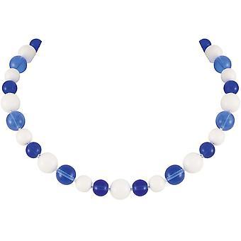 evig samling Jamboree Sapphire blå og hvit tsjekkisk glass beaded halskjede