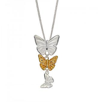 Elements Silver Sterling Silver Butterflies Yellow Gold Plating Pendant P4859