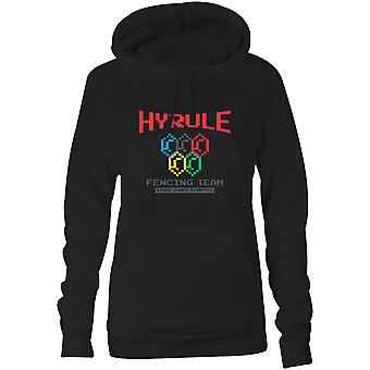 Womens Sweatshirts Hooded Hoodie- Hyrule Fencing Team Video Games Olympics