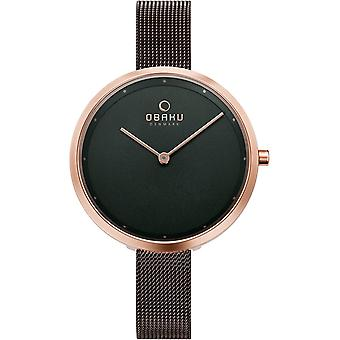 Obaku Dok Walnut Women's Brown Mesh Wristwatch V227LXVNMN