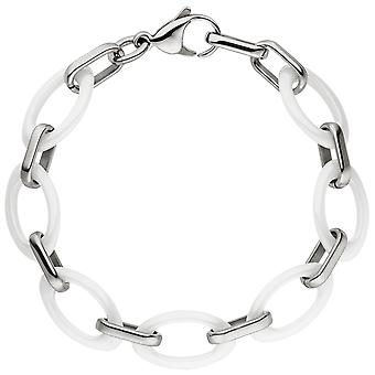 Bracelet stainless steel with white ceramic of bicolor 21 cm bracelet Stainless Steel carabiner