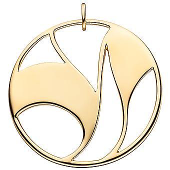 السيدات قلادة كبيرة وجولة 925 الاسترليني الفضة مطلي الذهب