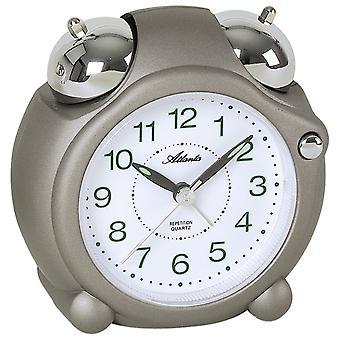 Atlanta 1992/3 Alarm clock quartz analog grey bell alarm clock double bell alarm clock