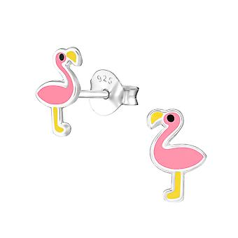 Flamingo - 925 Sterling Silber farbige Ohrstecker - W35395x