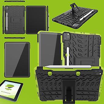 For Apple iPad Pro 11.0 2020 / 2021 Hybrid Utendørs Beskyttende Tilfelle Grønn Sak + 0.3 H9 Beskyttende Glass