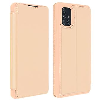 Genuine Leather Stand Folio Case with Card Slots for Galaxy A51-Dux Ducis, Pink