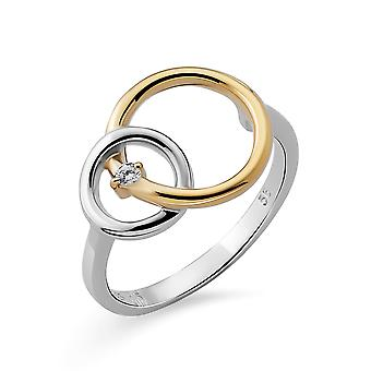 Orphelia Silver 925 Ring Double rings with Gold & rhodium plated