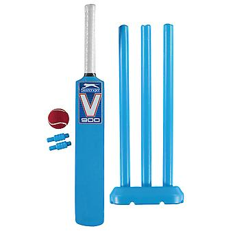 Slazenger V900 Mini Cricket Set Sport Plastic Bat Air Ball Carry Bag Inkluderet