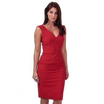 Frauen's Französisch Verbindung Glas Stretch V-Ausschnitt Kleid in rot