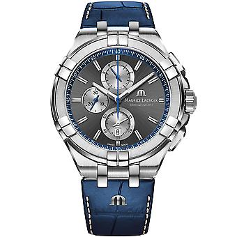 モーリス・ラクロワ・クォーツ アントラサイト ダイヤル ブルー レザー ストラップ メナ€™s Watch AI1018-SS001-333-1