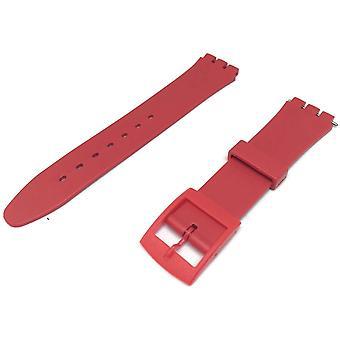 Swatch style résine montre sangle rouge avec boucle en plastique rouge 12mm et 17mm