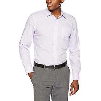 """Essentials Men's Slim-Fit Wrinkle-Resistant Long-Sleeve Dress Shirt, Lavender, 15.5"""" Neck 34""""-35"""""""
