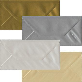 Metallisk Pack 100 DL gummierede konvolutter-fire metalliske farver