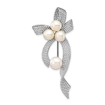 925 Sterling Silver Rhod plat 5 6mm White Button Freshwater Cultured Pearl Brooch Pin Jewelry Gifts for Women