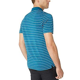 Essentials Men's Slim-Fit Quick-Dry Golf Polo Shirt, Dark Teal Stripe, Large