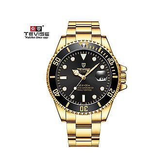 Tevise Mens Homage Analogue Quartz Watch Black Gold Smart Watches Date Present