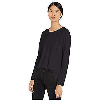 Merkki - Goodthreads Women's Washed Jersey Puuvilla Pitkähihainen Crewneck T-paita, Musta,Pieni