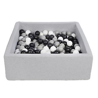 Kwadratowy dół kulkowy 90x90 cm z 300 kulkami czarnymi, białymi i szarymi