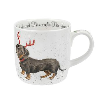 Royal Worcester Wrendale Dachshund and Snow Mug
