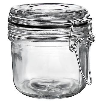 Argon Geschirr Glas Aufbewahrungsglas mit luftdichten Clip Deckel - 200ml - schwarze Dichtung