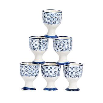 Nicola Spring 6 Piece Hand-Printed Egg Cup Set - Japanese Style Porcelain Breakfast Hard Soft Boiled Eggs Holder - Navy
